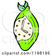 Cartoon Of A Lime Telling Time Royalty Free Vector Illustration by lineartestpilot