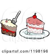 Cartoon Of Sliced Cake Royalty Free Vector Illustration