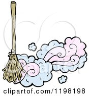 Cartoon Of A Broom Sweeping Royalty Free Vector Illustration