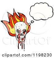 Poster, Art Print Of Bloody Flaming Skull Speaking