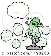 Cartoon Of A Ghoul Rising From The Grave Thinking Royalty Free Vector Illustration by lineartestpilot