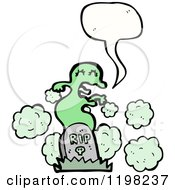 Cartoon Of A Ghoul Rising From The Grave Speaking Royalty Free Vector Illustration by lineartestpilot