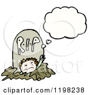 Cartoon Of A Zombie Rising From The Grave Thinking Royalty Free Vector Illustration by lineartestpilot