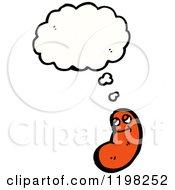 Cartoon Of A Sausage Thinking Royalty Free Vector Illustration