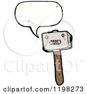 Cartoon Of A Speaking Hammer Royalty Free Vector Illustration by lineartestpilot