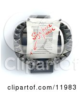 Contractual Document On A Trap Waiting For A Signature Clipart Illustration