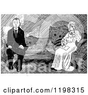 Clipart Of A Black And White Vintage Distant Couple Royalty Free Vector Illustration