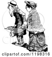 Clipart Of A Black And White Vintage Elderly Couple Royalty Free Vector Illustration