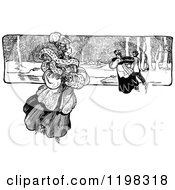 Clipart Of A Black And White Vintage Couple And Lady Ice Skating Royalty Free Vector Illustration