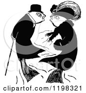 Clipart Of A Black And White Vintage Fancy Fish Couple Royalty Free Vector Illustration