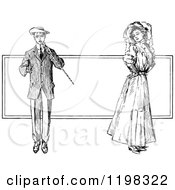 Clipart Of A Black And White Vintage Gentleman And Flirty Lady Royalty Free Vector Illustration
