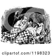 Clipart Of A Black And White Vintage Couple In Bed Royalty Free Vector Illustration