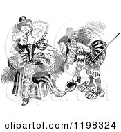 Clipart Of A Black And White Vintage Couple In Fancy Clothes Royalty Free Vector Illustration