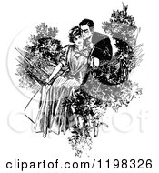 Clipart Of A Black And White Vintage Couple In A Hammock Royalty Free Vector Illustration