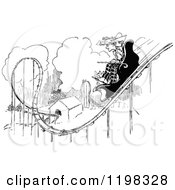 Clipart Of A Black And White Vintage Couple Riding A Roller Coaster Royalty Free Vector Illustration