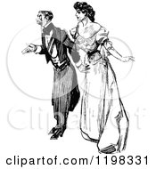 Clipart Of A Black And White Vintage Posh Couple Royalty Free Vector Illustration