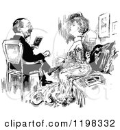 Clipart Of A Black And White Vintage Posh Couple Sitting Royalty Free Vector Illustration