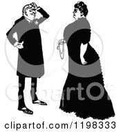 Clipart Of A Black And White Vintage Posh Couple Talking Royalty Free Vector Illustration