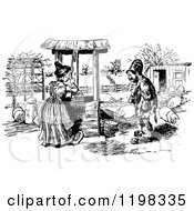 Clipart Of A Black And White Vintage Man Talking To A Woman Fetching Water At A Well Royalty Free Vector Illustration by Prawny Vintage