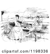 Clipart Of A Black And White Vintage Boating Couple Royalty Free Vector Illustration