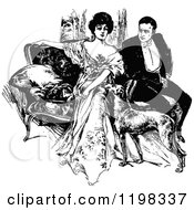 Clipart Of A Black And White Vintage Dog And Couple On A Sofa Royalty Free Vector Illustration