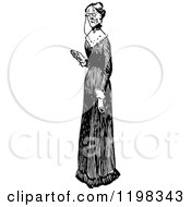 Clipart Of A Black And White Vintage Old Lady In A Long Dress Royalty Free Vector Illustration