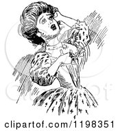 Clipart Of A Black And White Vintage Dramatic Woman Royalty Free Vector Illustration
