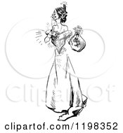 Clipart Of A Black And White Vintage Happy Woman With A Money Bag Royalty Free Vector Illustration