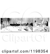 Clipart Of A Black And White Vintage Border Of Parents And Children Playing In A Yard Royalty Free Vector Illustration