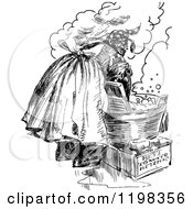 Clipart Of A Black And White Vintage Woman Washing Laundry Royalty Free Vector Illustration