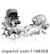 Clipart Of Black And White Vintage Old Men Royalty Free Vector Illustration