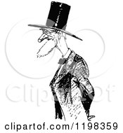 Clipart Of A Black And White Vintage Old Man With A Top Hat Royalty Free Vector Illustration