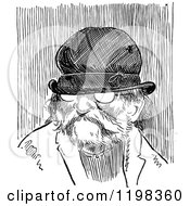 Clipart Of A Black And White Vintage Old Man Wearing A Hat Royalty Free Vector Illustration