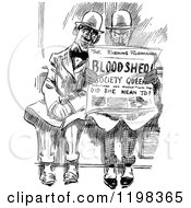 Clipart Of Black And White Vintage Men Reading A Newspaper Royalty Free Vector Illustration by Prawny Vintage