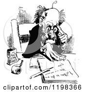Clipart Of A Black And White Vintage Man Reading A Letter Royalty Free Vector Illustration