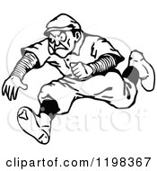 Clipart Of A Black And White Vintage Man Running Royalty Free Vector Illustration by Prawny Vintage