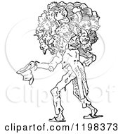 Clipart Of A Black And White Vintage Man With Many Heads Royalty Free Vector Illustration