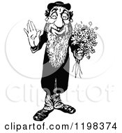 Clipart Of A Black And White Vintage Friendly Jewish Man With Flowers Royalty Free Vector Illustration by Prawny Vintage