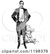 Clipart Of A Black And White Vintage Man And Cupid Royalty Free Vector Illustration