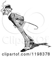 Clipart Of A Black And White Vintage Man With A Cane And Striped Suit Royalty Free Vector Illustration