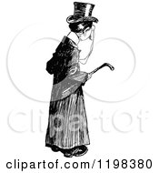 Clipart Of A Black And White Vintage Posh Man Carrying A Cane Royalty Free Vector Illustration