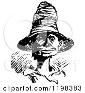 Clipart Of A Black And White Vintage Man In A Straw Hat Royalty Free Vector Illustration