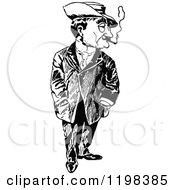 Clipart Of A Black And White Vintage Man Smoking Royalty Free Vector Illustration