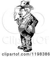 Clipart Of A Black And White Vintage Man Smoking 2 Royalty Free Vector Illustration