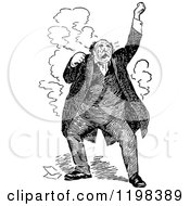 Clipart Of A Black And White Vintage Stressed Man Royalty Free Vector Illustration