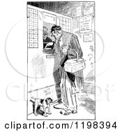 Clipart Of A Black And White Vintage Dog And Man At A Ticket Booth Royalty Free Vector Illustration
