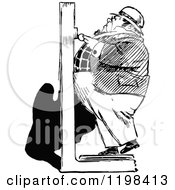 Clipart Of A Black And White Vintage Chubby Man On A Scale Royalty Free Vector Illustration