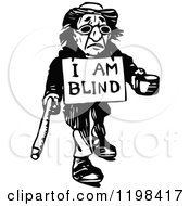 Clipart Of A Black And White Vintage Blind Man Begging Royalty Free Vector Illustration