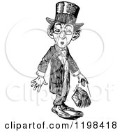 Clipart Of A Black And White Vintage Surprised Man Dropping A Book Royalty Free Vector Illustration