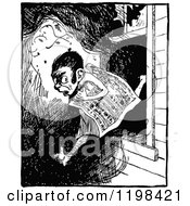 Clipart Of A Black And White Vintage Nude Man Leaping Through A Window With A Newspaper Royalty Free Vector Illustration by Prawny Vintage